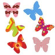 multicolored paper butterflies