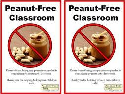 warning sign in a class with a peanut butter allergy