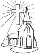 coloring page with a church