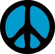 black and blue Peace Symbol