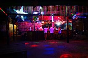 empty illuminated night bar