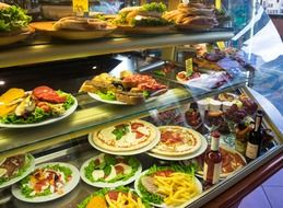 large selection of Italian food in the cafe
