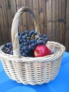Red apples and blue grapes in the basket