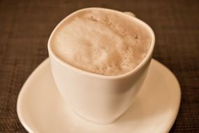 porcelain cup of aromatic cappuccino