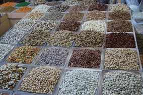 variety of legumes on the counter in the market