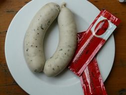 Bavarian sausages with ketchup