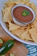 salsa and crispy chips on one plate