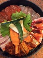 kimchi, traditional korean food on grill