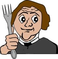 man with a fork in his hand