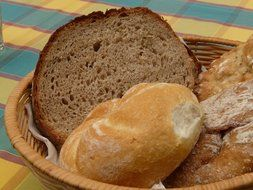 different types of breads are in the basket