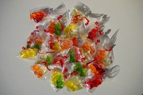 gelatin gummi bears colorful packed sachets
