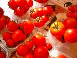 red tomatoes in wicker baskets