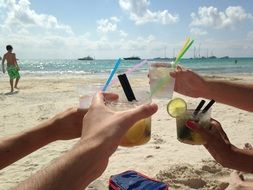 friends drink alcohol on the beach