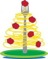spaghetti in the form of a Christmas tree