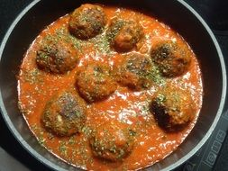 Tasty albondigas meat balls in the tomato sauce