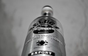 bottle of vodka in black and white background