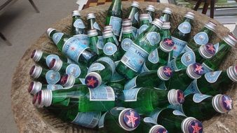 mineral water bottles in a basket