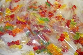 colorful gummi bears packed in sachets