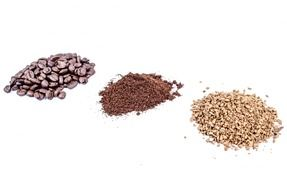heaps of coffee beans, instant coffe and ground coffee