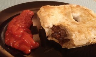 meat pie and ketchup