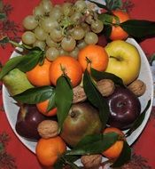 composition of fruits and walnuts on the plate