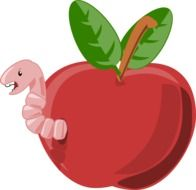 apple red with worm drawing