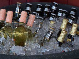bottles beer alcohol drink ice