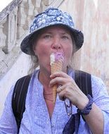 woman with fruit ice-cream