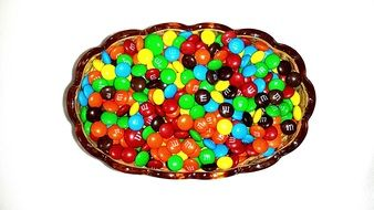 colored chocolate drops on a plate