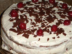 Black Forest Cake with Cream and Cherry