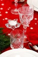 glasses on the christmas tablecloth