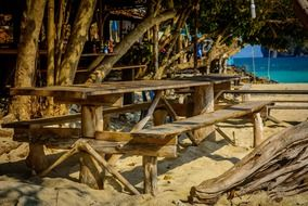 beach cafe bar wooden chairs and table