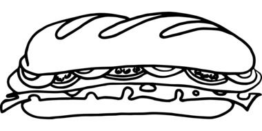 sandwich food sausage snack cheese drawing