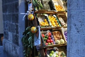 Different varities of fruits and vegetables in the market in Italy