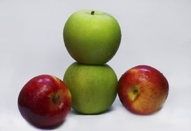 two green and two red apples fruit food healthy organic