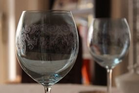 wine glasses with a pattern