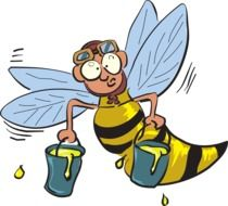funny bee with honey as a graphic image
