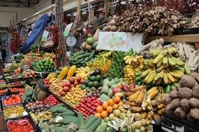 exotic fruits and vegetables on the market in Portugal