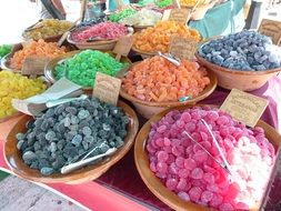 colorful candied fruits on the market