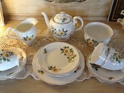 vintage painted procelain tea set