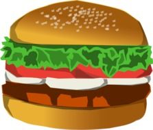 drawn hamburger with mayonnaisel