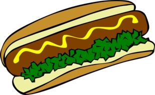 graphic image of a hot dog with greens