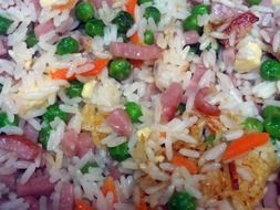 rice ,sausages and vegetables