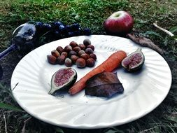 figs, nuts and carrots on a plate