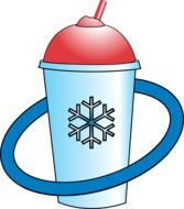 Blue and red cup for cold beverages clipart