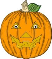 pumpkin with angry face, halloween illustration