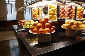 variety of fruits in a large professional kitchen