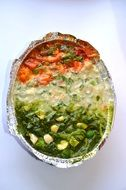 colorful baked vegetables in pan, indian cuisine