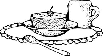 Black and white drawing of the grapefruit and coffee clipart