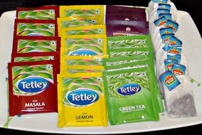 colorful packed tea bags on tray